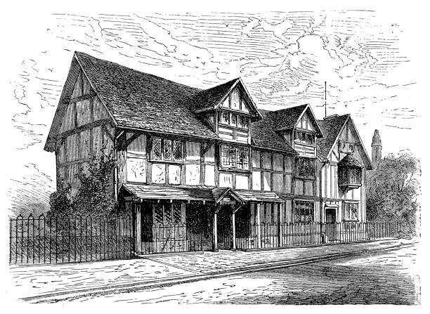 the birthplace of william shakespeare (1564 - 1616), stratford - romeo and juliet stock illustrations, clip art, cartoons, & icons