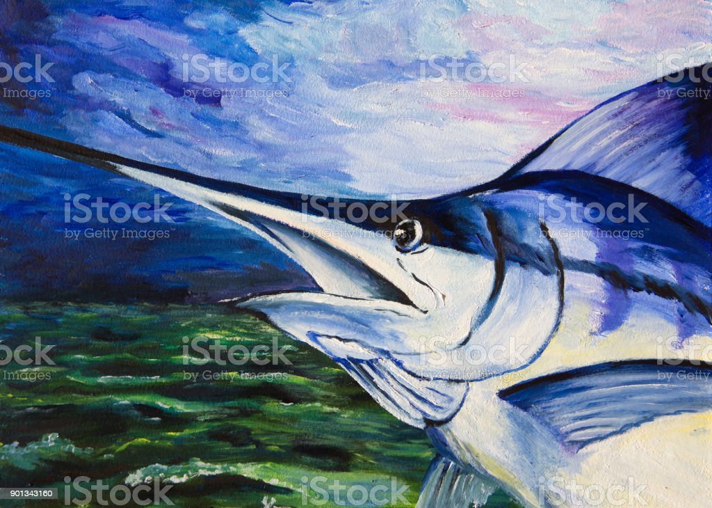 The blue marlin jumped out of the water vector art illustration