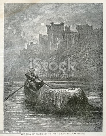 Engraving from Idylls of the King poems by Lord Tennyson from 1889
