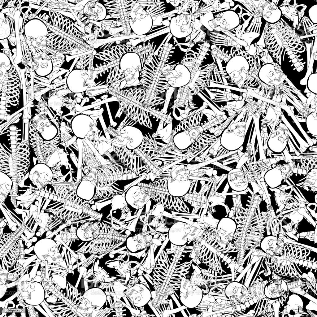 The boneyard jumble vector art illustration