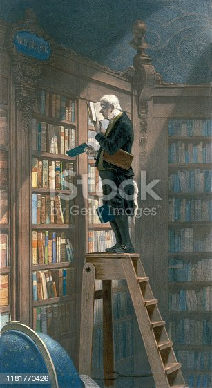 Vintage illustration features a man in a library reading a book on top of a ladder, with books in hand, between his legs, and under his arm.
