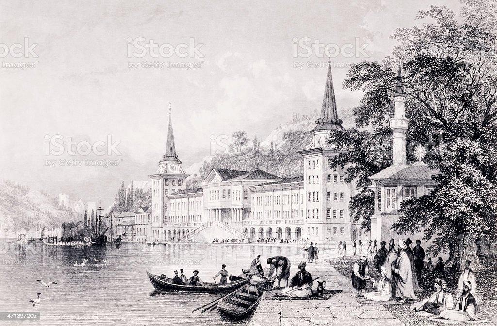 The Bosphorus Old Cavalery Barracs vector art illustration