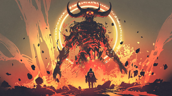 the boss fight with lava demon