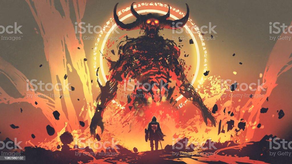the boss fight with lava demon vector art illustration