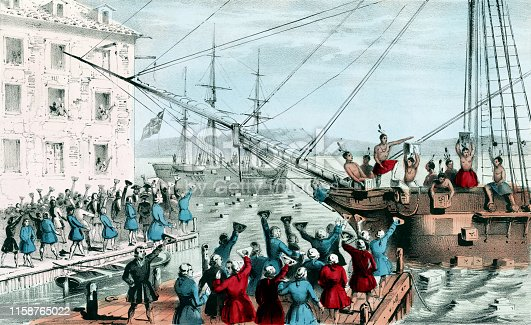 "Vintage illustration features the Boston Tea Party, a political protest that occurred on December 16, 1773, at Griffin's Wharf in Boston, Massachusetts. American colonists, frustrated and angry at Britain for imposing ""taxation without representation,"" dumped 342 chests of British tea into the harbor. The event was the first major act of defiance to British rule over the colonists and a significant event that led to the American Revolution."