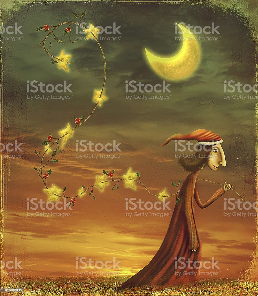 The boy collecting stars royalty-free stock vector art
