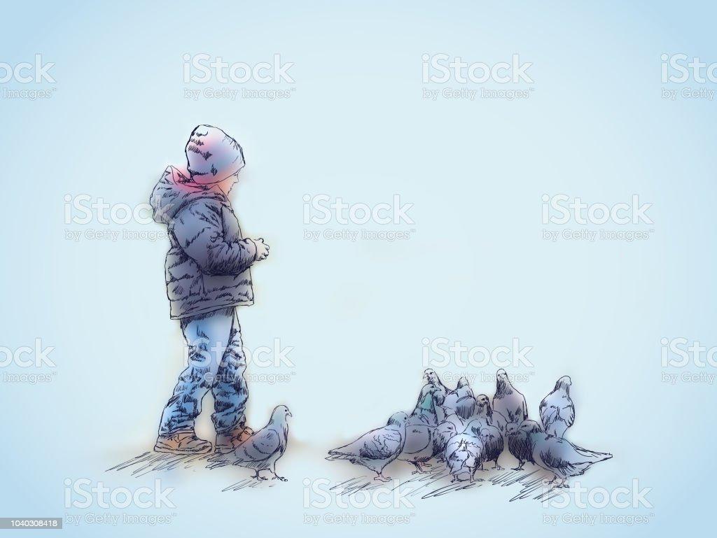 The boy feeds the birds vector art illustration