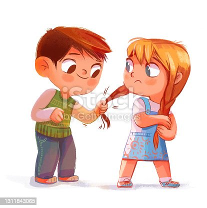 The boy pulls the girl's pigtail. Isolated illustration on white background