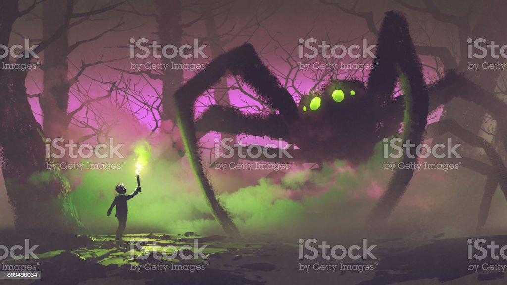the boy with a torch facing giant spider vector art illustration
