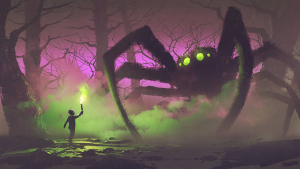 the boy with a torch facing giant spider dark fantasy concept showing the boy with a torch facing giant spider in mysterious forest, digital art style, illustration painting light through trees stock illustrations