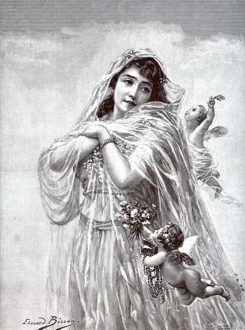 The bride in seductive transparent clothing, surrounded by angels