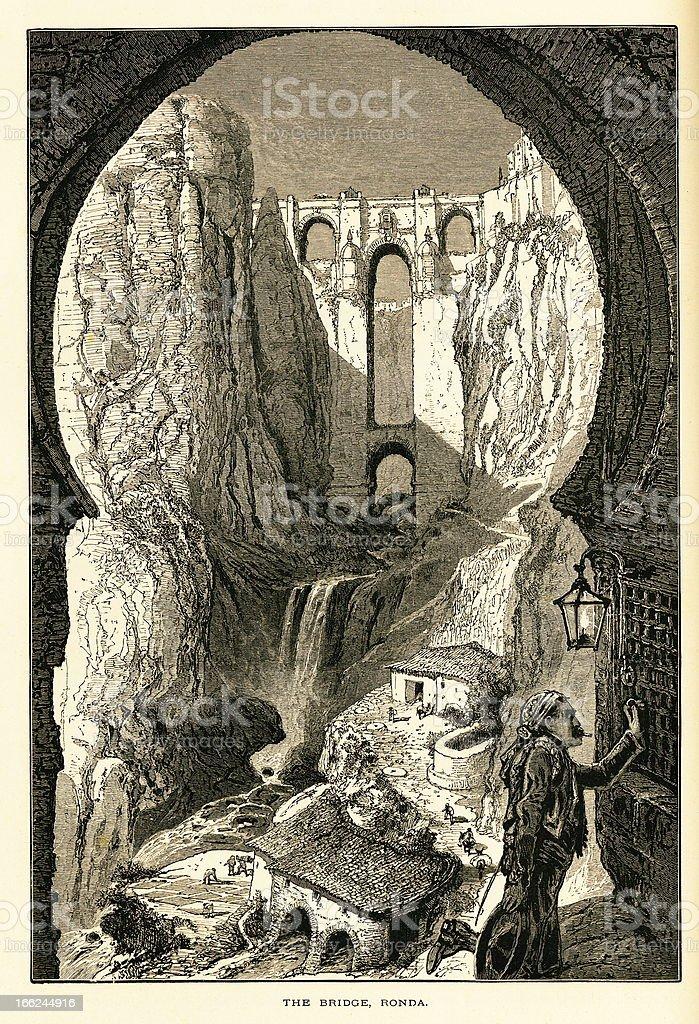The Bridge, Ronda, Spain (antique wood engraving) royalty-free stock vector art
