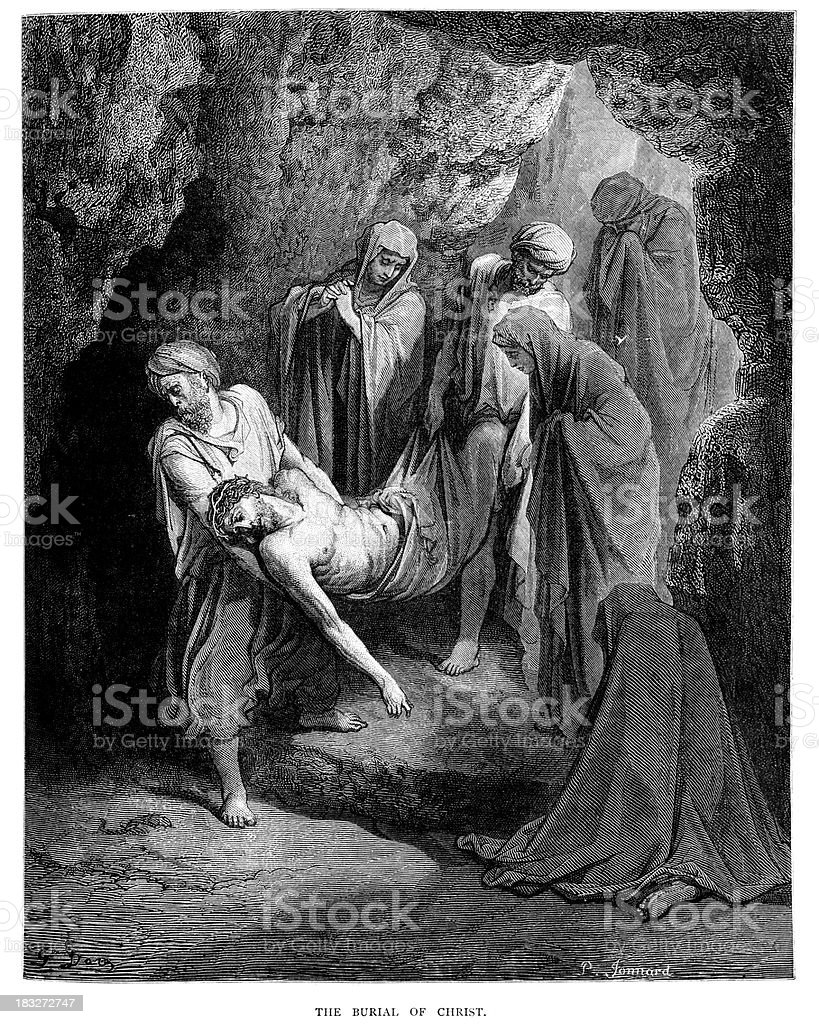 The Burial of Jesus Christ royalty-free stock vector art