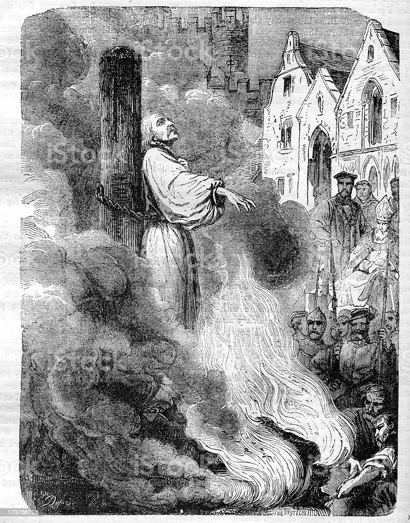 The Burning of Archbishop Cranmer vector art illustration