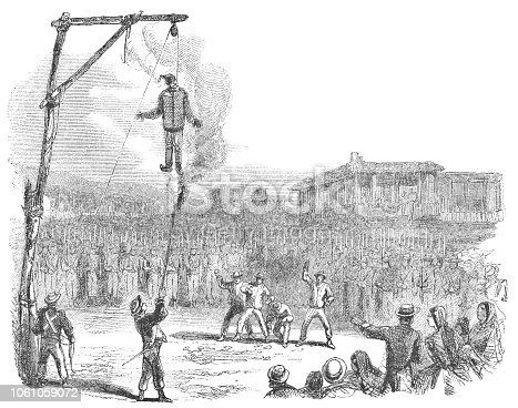 Large crowd of people ritually hanging and burning an effigy of Judas at Easter in San José the capital city of Costa Rica (circa mid 19th century). Vintage etching circa mid 19th century.