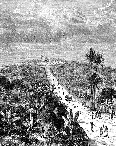 The capital (or palace) of King M'tesa of Buganda (in Uganda), Africa. Illustration from