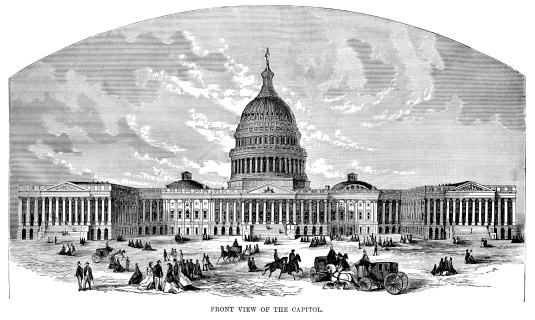 Engraving From 1874 Of The Capitol Building In Washington DC.