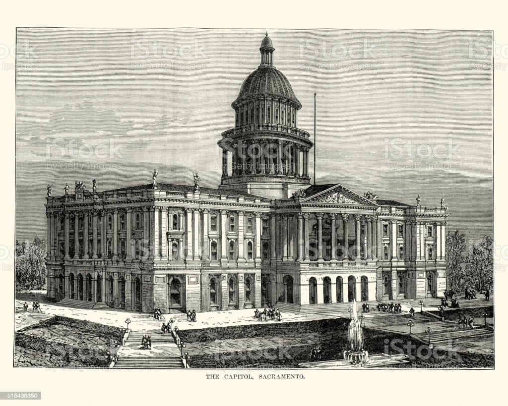 The Capitol, Sacramento in the 19th Century vector art illustration