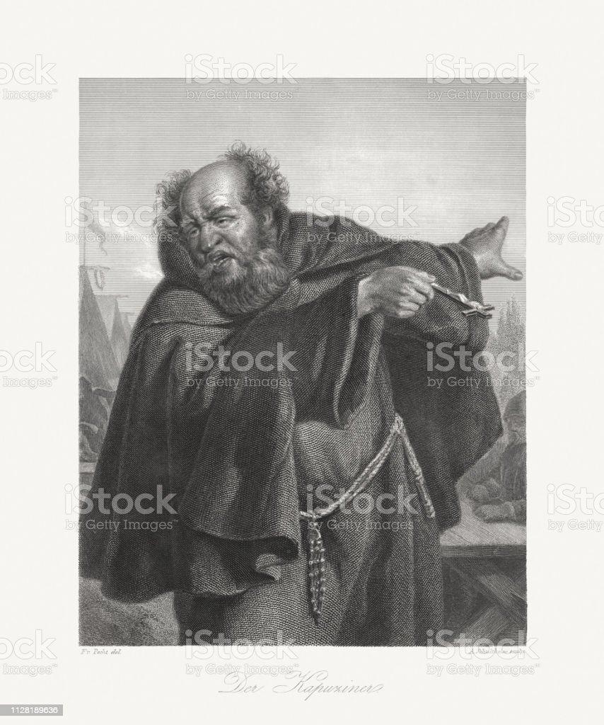 The Capuchin, literary figure (Wallenstein's camp) by Friedrich Schiller vector art illustration