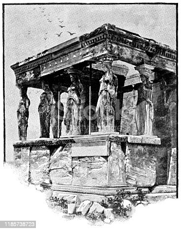 The Caryatid Porch the Erechtheum at the Acropolis of Athens in Athens, Greece. Vintage halftone etching circa late 19th century.