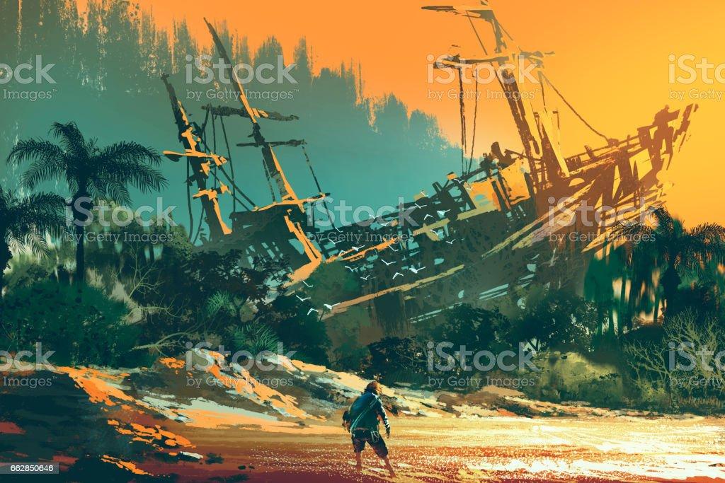 the castaway man on island beach vector art illustration