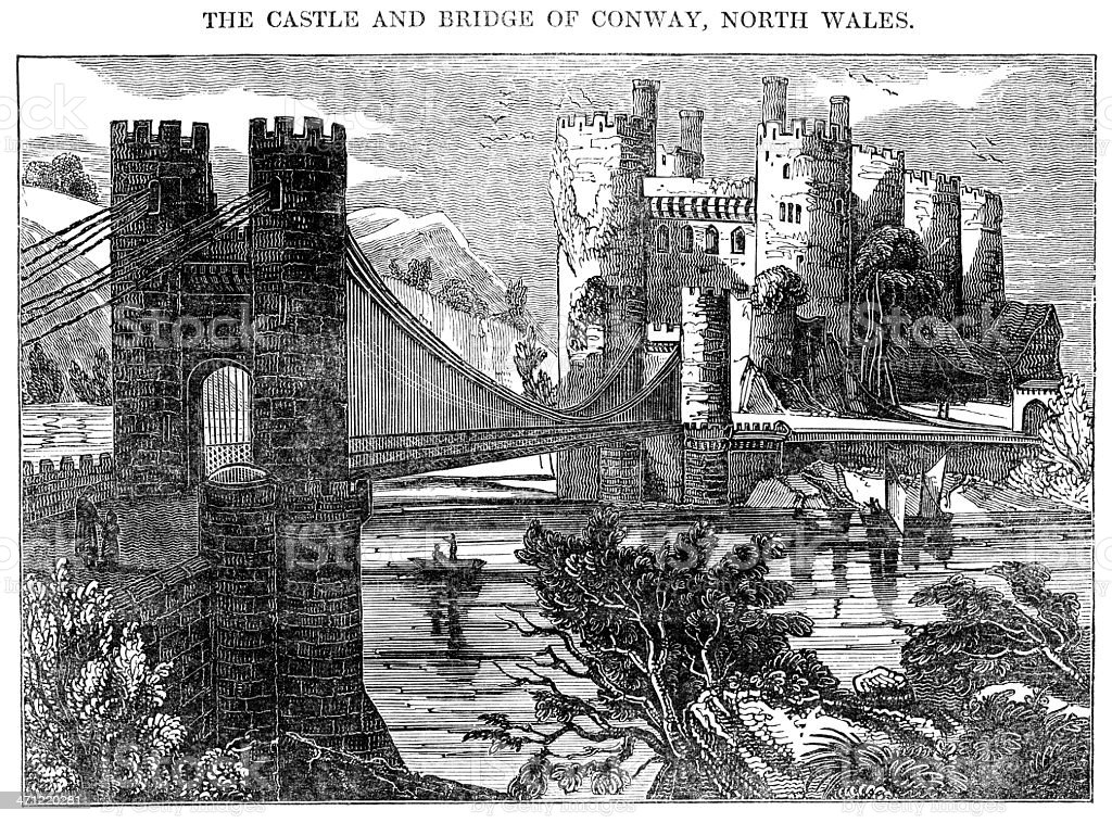 The Castle and bridge at Conway, North Wales (1833 woodcut) vector art illustration