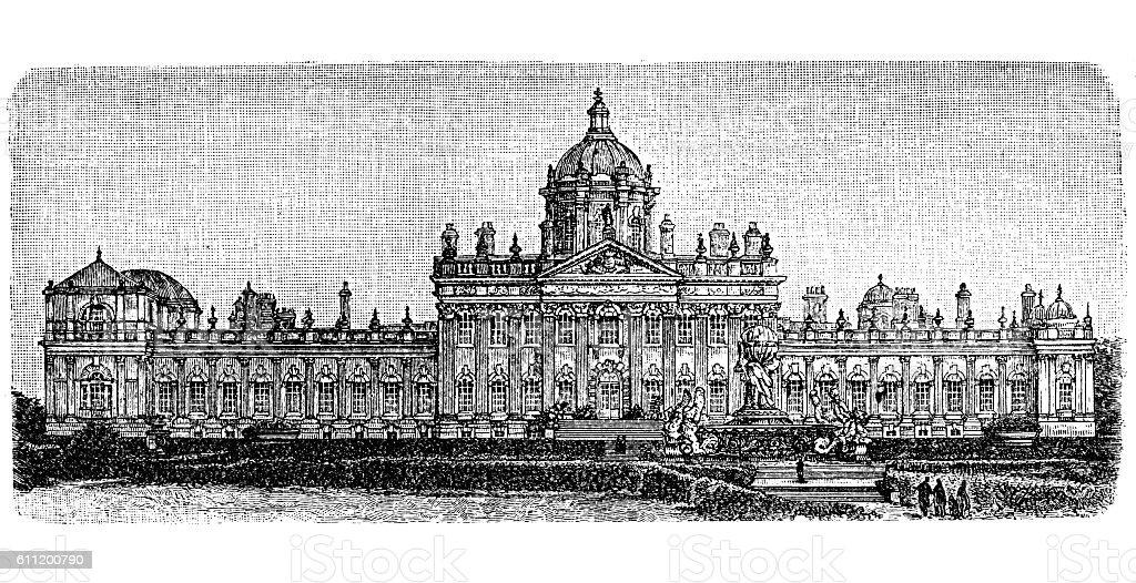 The Castle Howard, Yorkshire, England, UK vector art illustration