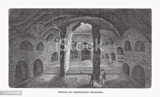 istock The Catacombs of Naples, Italy, wood engraving, published in 1893 1278260660