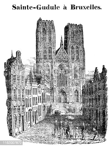Steel engraving of The Cathedral of St. Michael and St. Gudula is a Roman Catholic church in Brussels, Belgium. Original edition from my own archives Source :