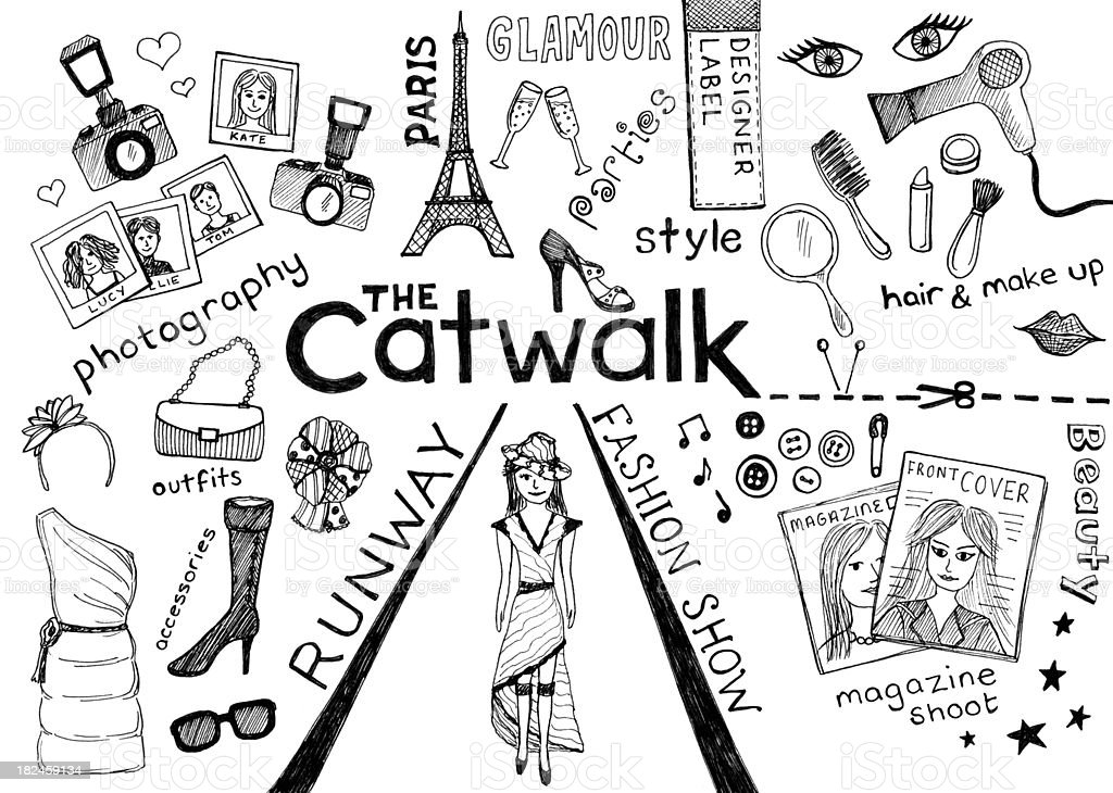 The Catwalk drawing vector art illustration