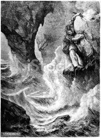 Illustration of The Cave of Steenfoll, for a story by Wilhelm Hauff, based on a Scottish legend