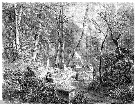 Illustration of a The cemetery in mountains