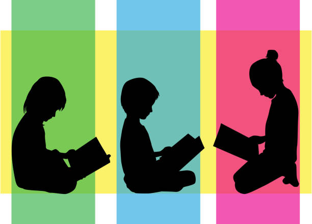 The child is reading a book. The child is reading a book. book silhouettes stock illustrations
