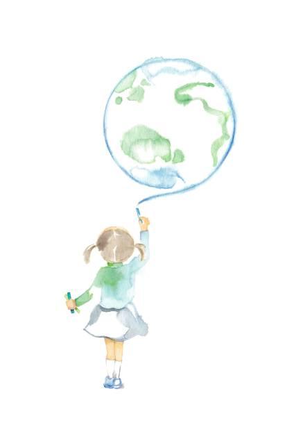 stockillustraties, clipart, cartoons en iconen met het kind die door krijt trekt - alleen één meisje