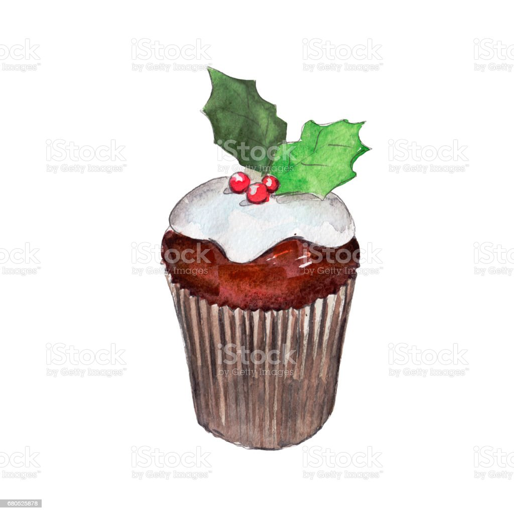 The christmas muffin isolated on white background, watercolor illustration in hand-drawn style. vector art illustration