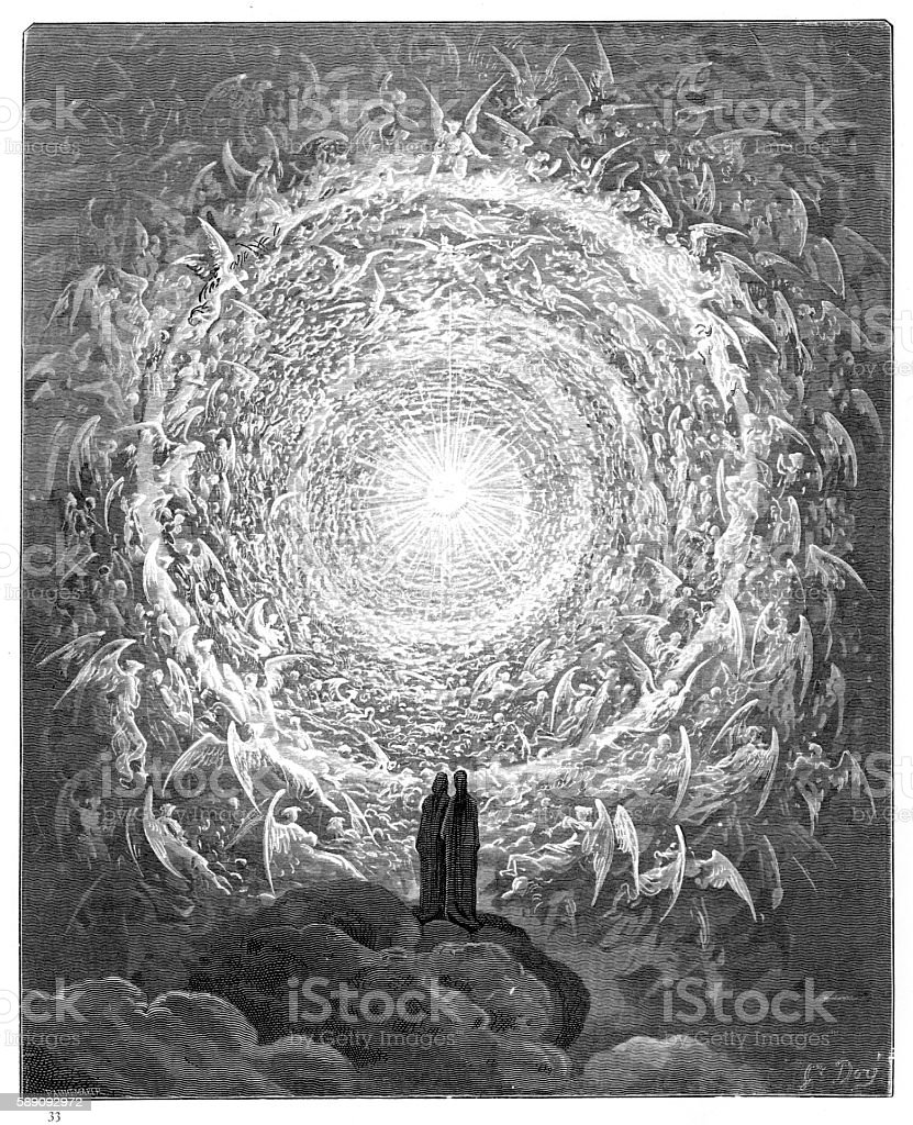 The circle of angels paradiso 1870 vector art illustration
