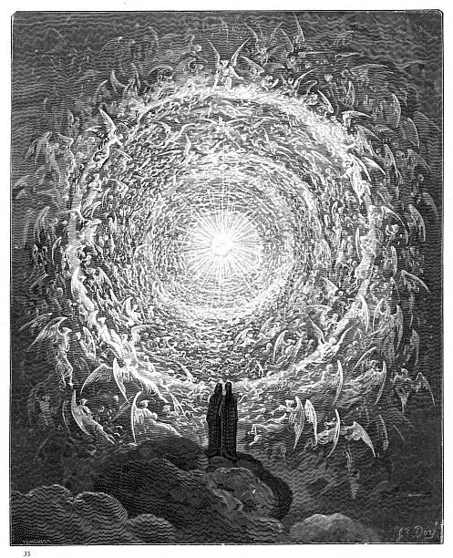 illustrazioni stock, clip art, cartoni animati e icone di tendenza di the circle of angels paradiso 1870 - dante alighieri