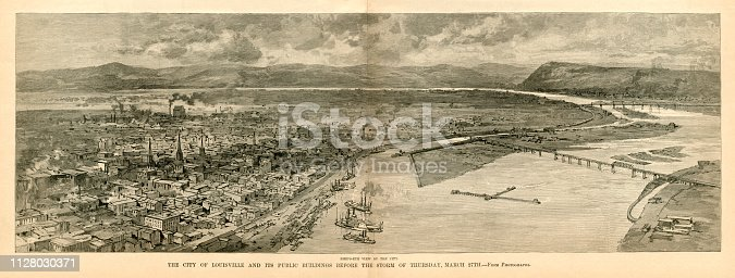 "Elevated view of the city of Louisville, Kentucky, USA, before the Great Storm in late March 1890, during which the city of Louisville, Kentucky, was partially destroyed: it was known as the Louisville Cyclone. The illustration also shows the Ohio River, the ship canal and two bridges. From ""Harper's Weekly - A Journal of Civilization"" Volume XXXIV No. 1737 of Saturday 5th April 1890. Published by Harper & Brothers and costing 10 cents including supplement."