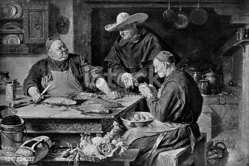 The Cloister Kitchen by Eduard Theodor Ritter von Grützner (circa 19th century). Vintage etching circa late 19th century.