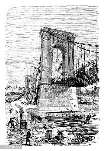 Illustration of The collapse of the Passerelle de Constantine ,Collapse of the Constantine Bridge in Paris