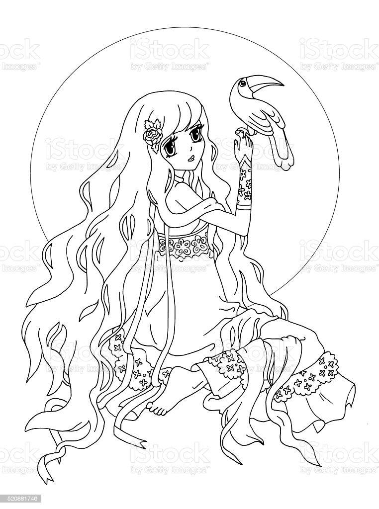 Ilustración de La Página Para Colorear La Dama Con Ave Exótica y más ...