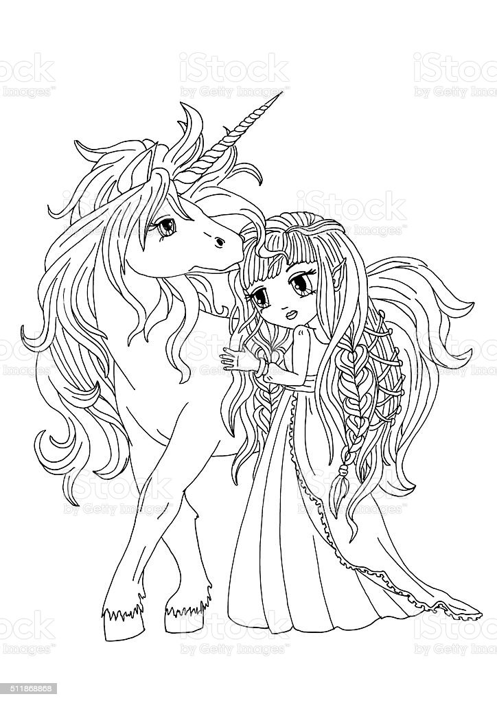The Colouring Page The Unicorn And Moon Princess Stock Illustration Download Image Now Istock
