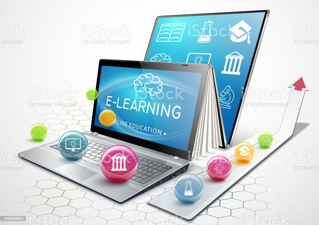 The concept of e-learning. Education online. Laptop as an ebook. Getting an education. Illustration vector art illustration