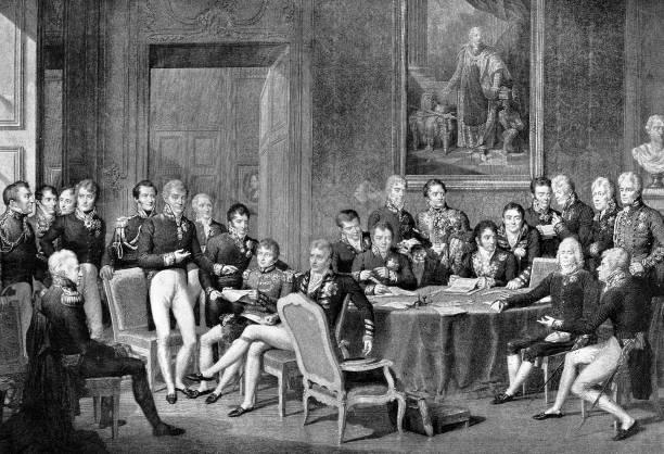 illustrazioni stock, clip art, cartoni animati e icone di tendenza di the congress of vienna 1814 - vienna congress
