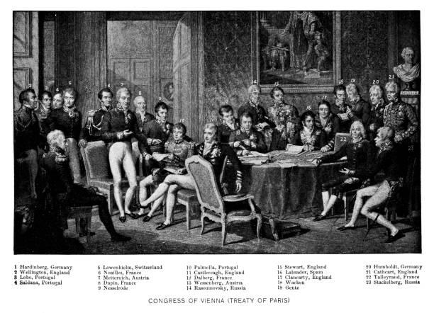 illustrazioni stock, clip art, cartoni animati e icone di tendenza di the congress of vienna treaty of paris signing - 19th century - vienna congress