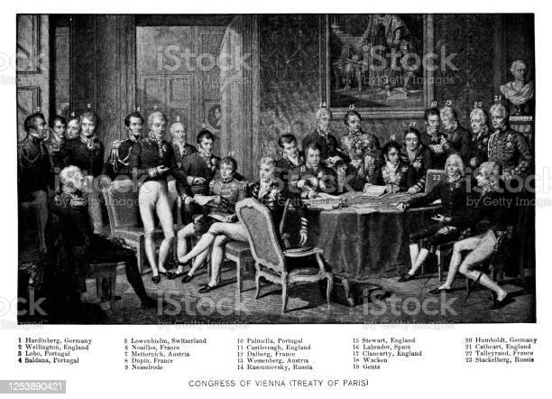 The Congress Of Vienna Treaty Of Paris Signing 19th Century - Immagini vettoriali stock e altre immagini di 1810-1819