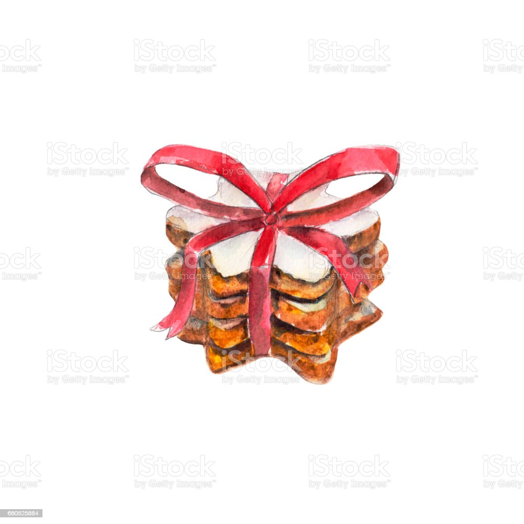 The cookies stack with red ribbon and a bow isolated on white background, watercolor illustration in hand-drawn style. vector art illustration
