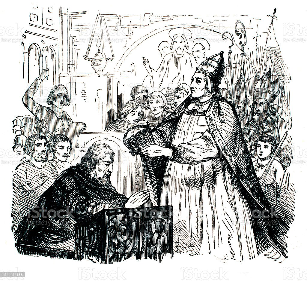 The Coronation of the Holy Roman Emperor Charles the great vector art illustration