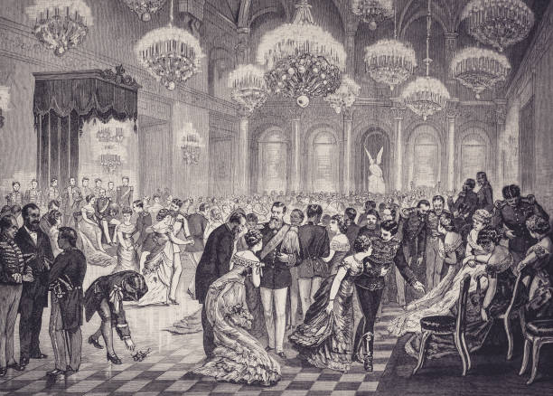 the court ball at the german emperor in berlin - illustration from 1884 - sala balowa stock illustrations