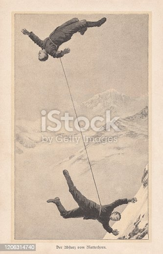The crash on the first ascent of the Matterhorn in the Canton of Valais, Switzerland. On July 14, 1865, the British Edward Whymper was the first to climb the mountain. Four of his companions died on the descent. Raster print after a drawing, published in 1895